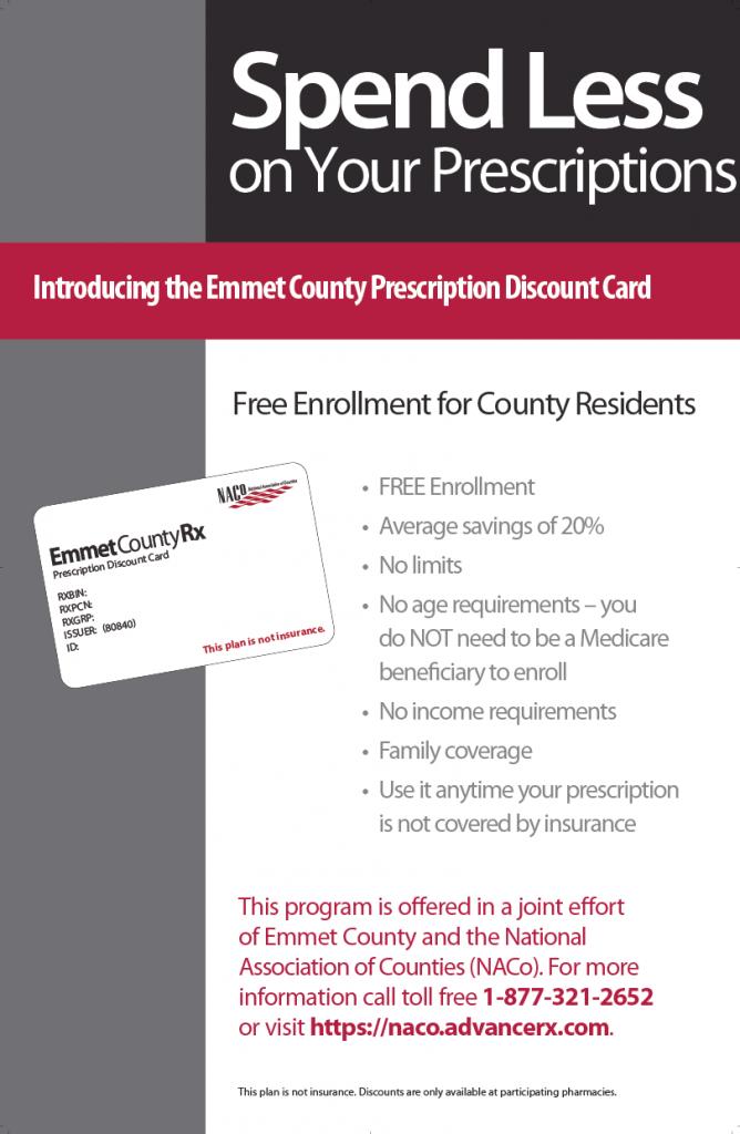 emmet county prescription card info
